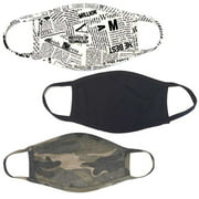 PRO MC 3Pcs Set Unisex Face Mask Camo Black Print Protect Reusable Cotton Comfy Washable Made In USA