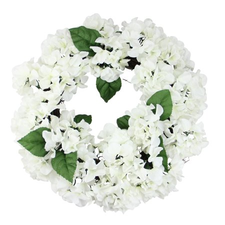 "22"" Cream and Green Floral Hydrangea Wreath - Unlit"