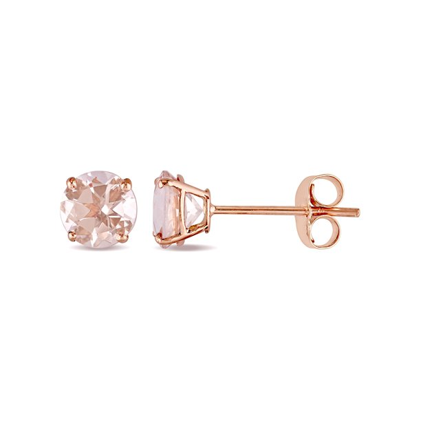 Tangelo 1 Carat T G W Morganite 14kt Rose Gold Solitaire Stud Earrings Walmart Com Walmart Com