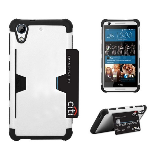eDragon Shell Polycarbonate Case with Built-in Foldable Kickstand Rugged for HTC Desire 626 White/Black