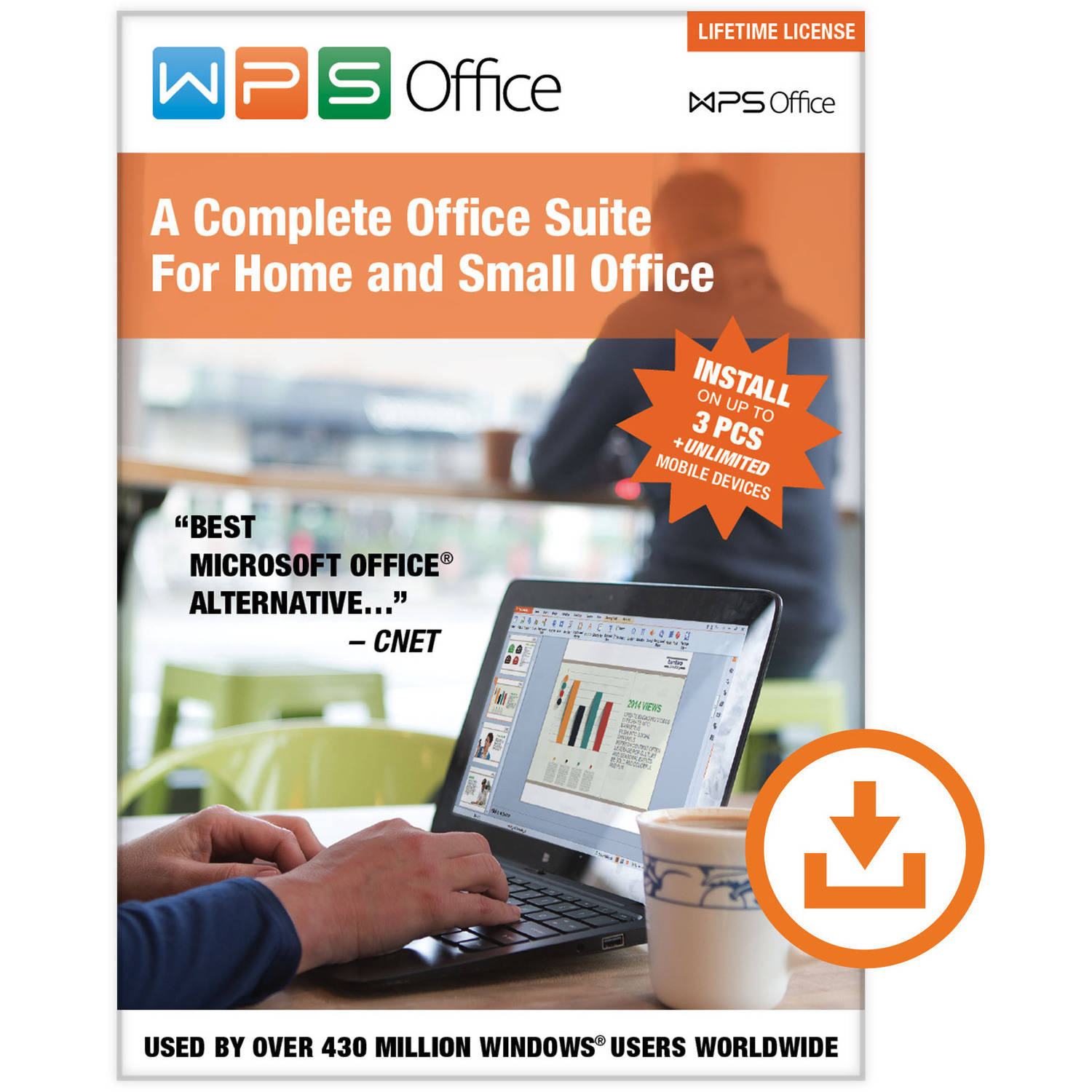 WPS Office: Lifetime License (3 PCs/Unlimited Mobile Installs) (Digital Code)