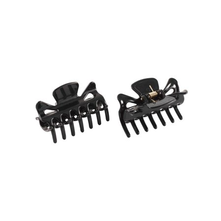 Lady Plastic 14 Teeth Spring Loaded Hair Jaw Claw Clip Clamp Hairclip Black