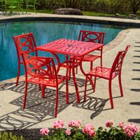 """Alfresco Home Lasso Café Set with 31.5"""" Sqaure Café Table with Umbrella Hole and 4 Stackable Café Chairs in Candy Red Finish"""