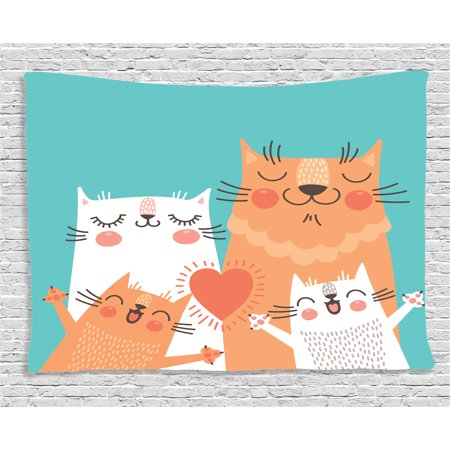 Funny Decor Tapestry, Cute Kitten Couple Sweet Happy Paws Loving Heart with Family Cats Poster Style Theme, Wall Hanging for Bedroom Living Room Dorm Decor, 60W X 40L Inches, Multi, by Ambesonne - Couple Themes