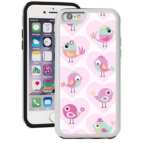 Apple iPhone 6 6s Shockproof Impact Hard Soft Case Cover Cute Birds (White)