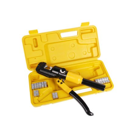 (GHP 10 Ton Hydraulic Hexagon Crimping Plier With 9 Dies and Carrying Case)