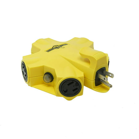 Single Outdoor Tv Outlet - Yellow Jacket 827362 Outdoor 15-Amp Outlet Adapter Converter, 5-Outlet, Yellow