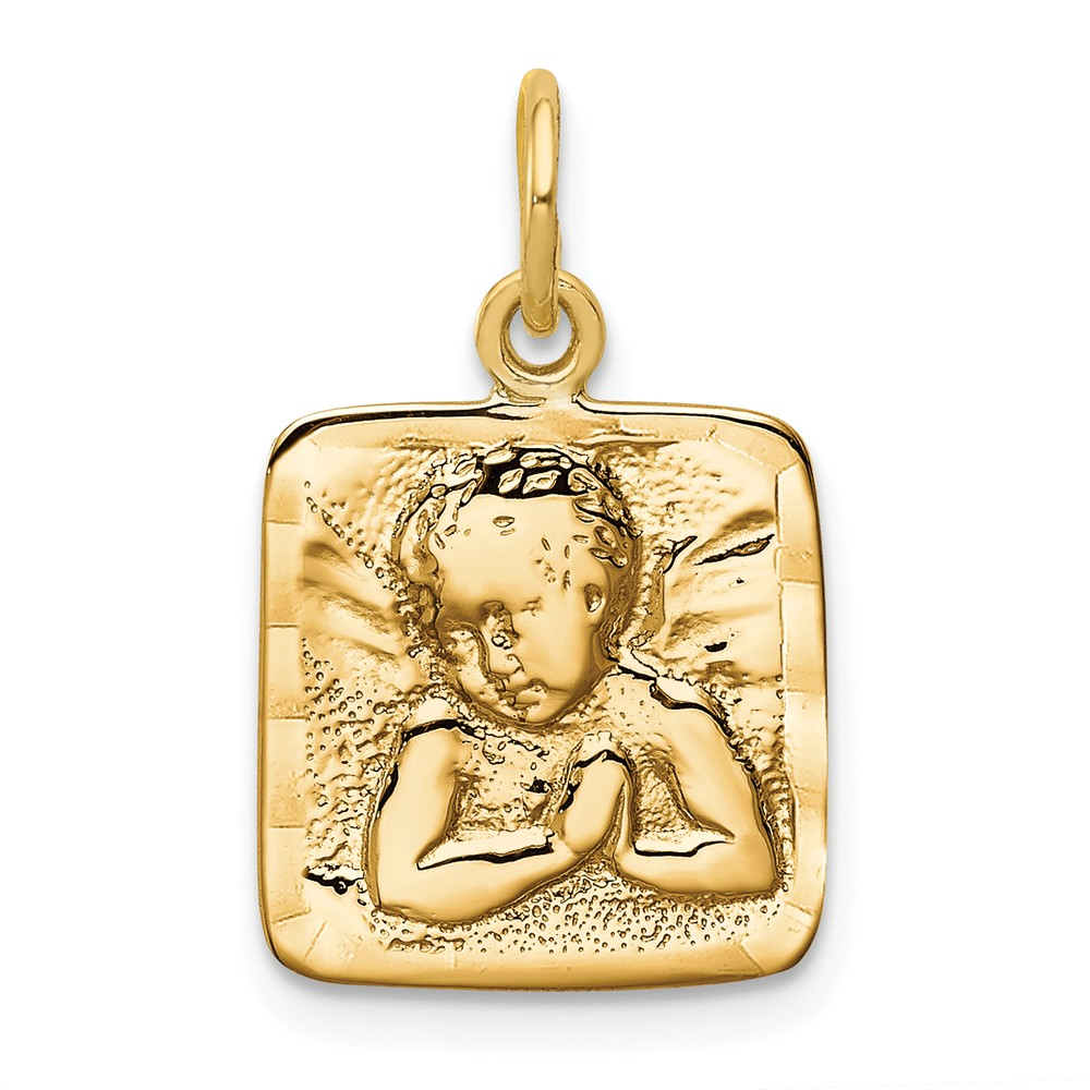 14k Yellow Gold Satin & D/C Angel Charm (0.9in long x 0.5in wide)