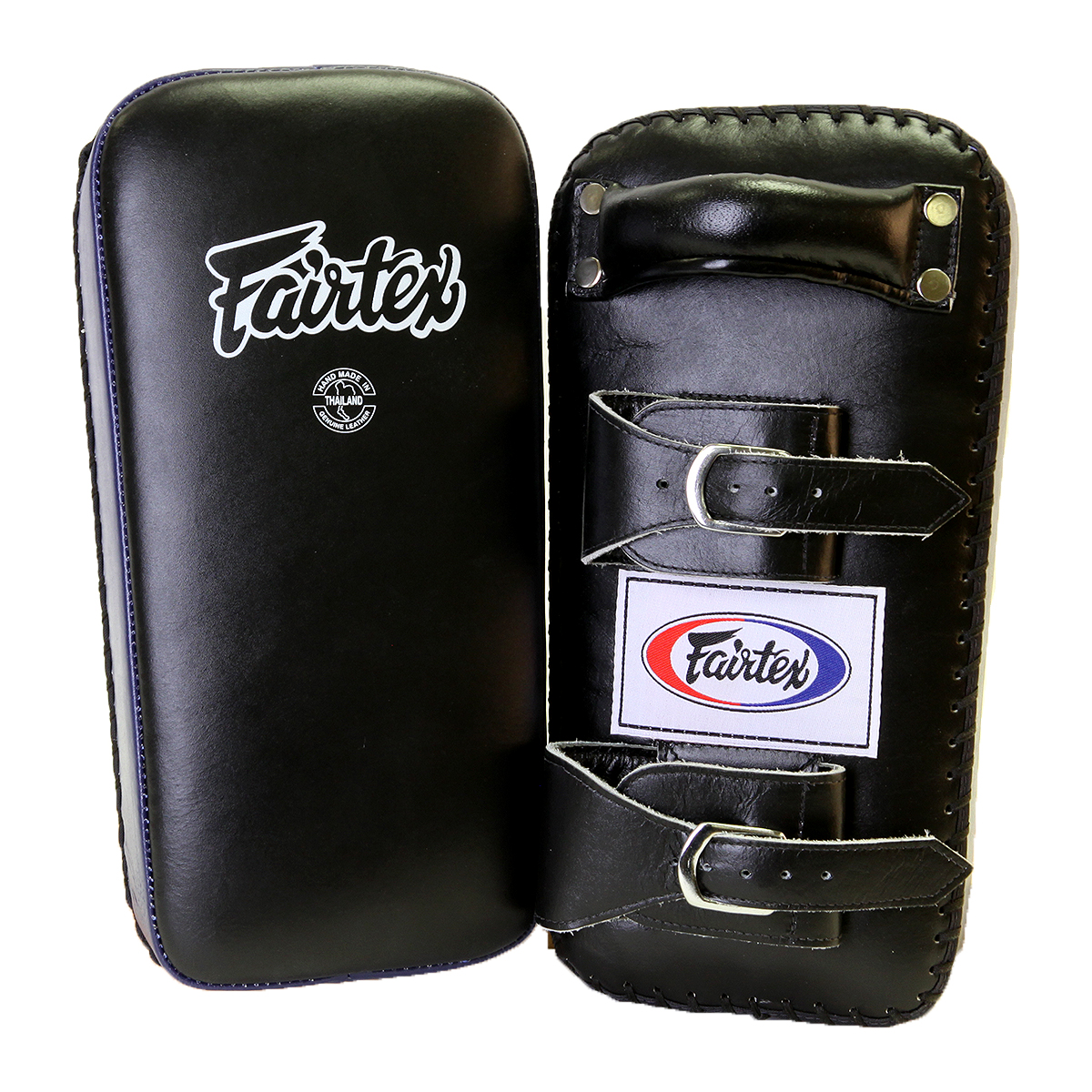 Fairtex Extra Thick Thai Kick Pads with Buckle - Black/Blue