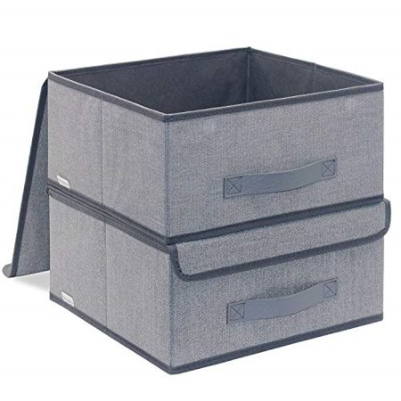 Onlyeasy Foldable Storage Bins Cubes Boxes with Lid - Storage Box Cube  Cubby Basket Closet Organizer Pack of 2 with Leather Handles for Closet ...