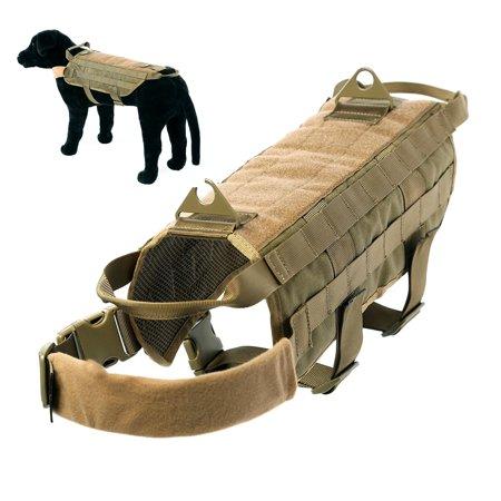 Tactical Dog Harness Vest Nylon Training Military Patrol K9 Service Dog Dog Vest Jacket with Handle For Small Medium Large (Service Dog Training Vest)