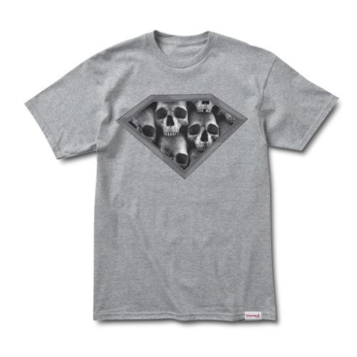 DIAMOND Skateboard T Shirt DMND SKULLS HEATHER SS Size M
