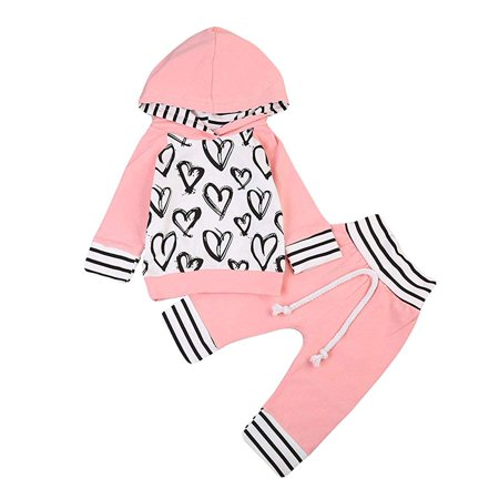 Baby Girls Long Sleeve Love Heart Pattern Hoodie Top and Pants Outfit set 2Pcs Outfits Clothes Set