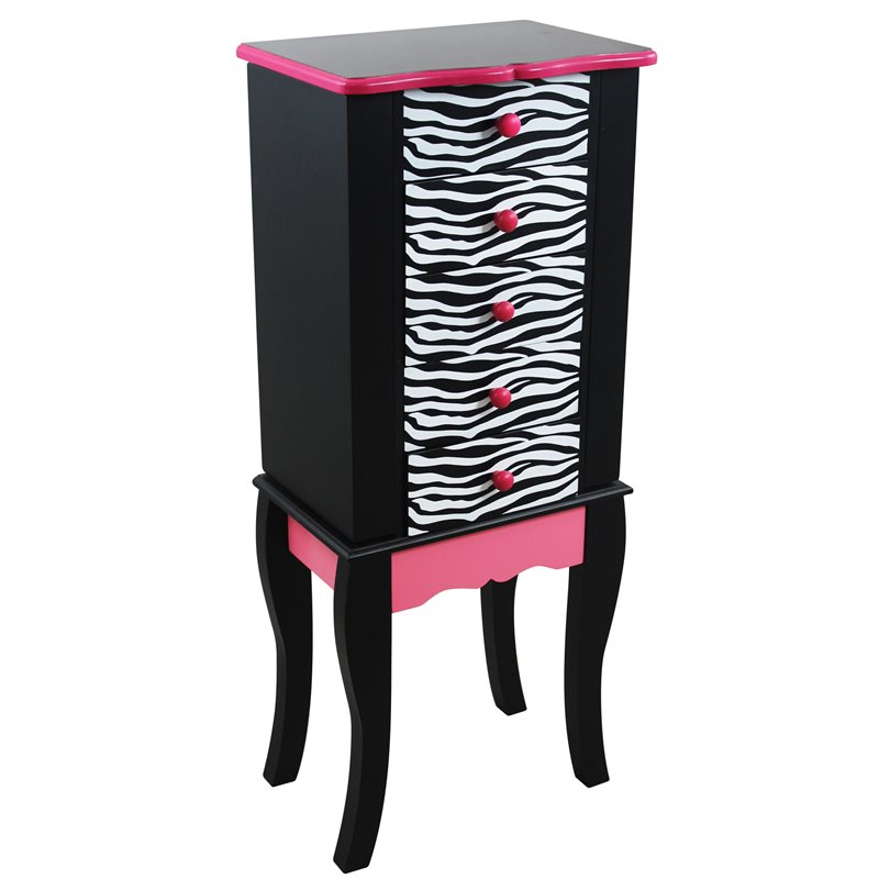 Teamson Kids - Fashion Zebra Prints Irina Jewelry Armoire - Pink / Black