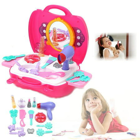 kid girls toy cosmetic bag carry case vanity beauty hair