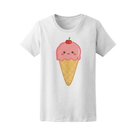 Cute Ice Cream Cone Cherry Top Tee Women