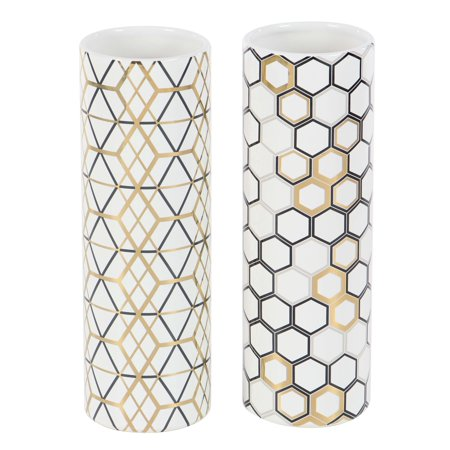 White Cylinder Bottle - Decmode Set of Two - 12 Inch Modern Ceramic Honeycomb and Geometric-Patterned Cylindrical Vases, White