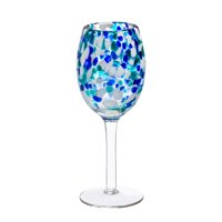 Glass Tabletop Wine Glass, Blue Confetti
