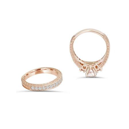 1 1/2Ct Vintage Diamond & Morganite Engagement Wedding Ring Set 14K Rose Gold - image 2 of 3