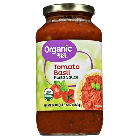 (3 pack) Great Value Organic Tomato Basil Pasta Sauce, 23.5 oz