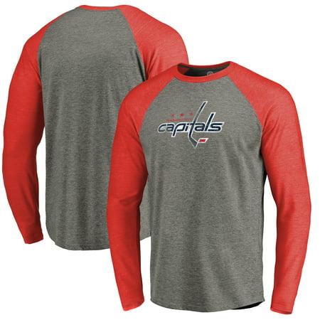 Washington Capitals Distressed Team Tri-Blend Raglan Long Sleeve T-Shirt - Gray/Red](Washington Capitals Halloween)