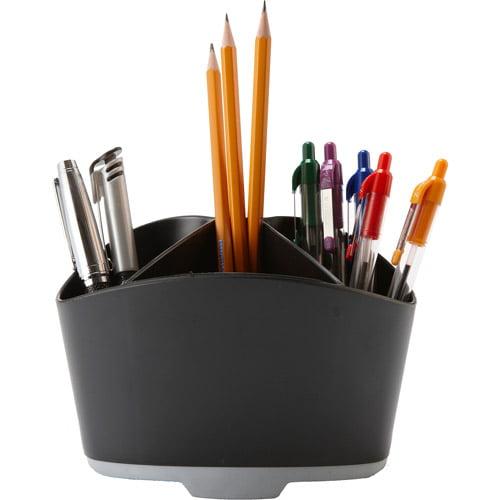 Storex Rubber Grip Mini Desk Organizers, Black/Gray, Case of 6