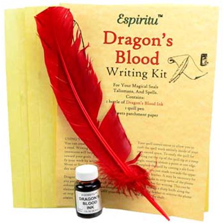 Party Games Accessories Halloween Séance Spell Writing Kit Parchment Paper Dragons Blood Ink Red Feather (Halloween Witch Online Games)