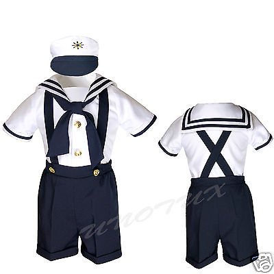 SAILOR SHORTS SUIT FOR INFANT, TODDLER & BOY NAVY OUTFITS size S,M,L,XL,2T,3T,4T](Suit Outfits)