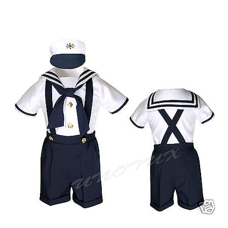SAILOR SHORTS SUIT FOR INFANT, TODDLER & BOY NAVY OUTFITS size S,M,L,XL,2T,3T,4T](Navy Sailor Suit)
