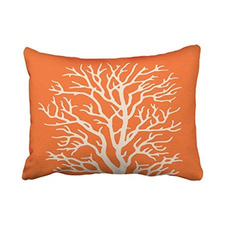 RYLABLUE Decorative Pillowcases Coral Tree In Cream On Pumpkin Orange Throw Pillow Covers Cases Cushion Cover Case Sofa 20x30 Inches Two Side - image 1 of 1