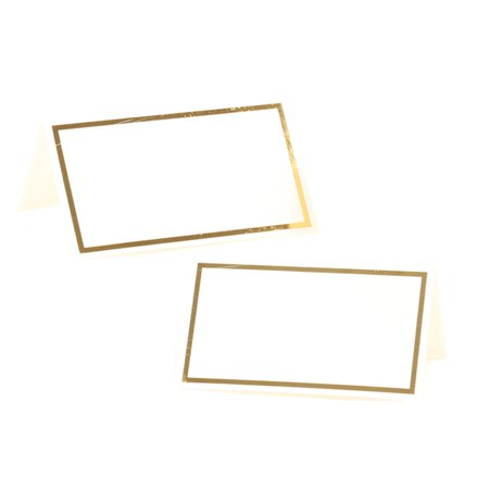 Koyal Wholesale Placecard Gold Foil Border Table Tent Cards in Bulk 100-Pack,Dinner Party Seating, Food Catering - Promo Code For Wholesale Party Supplies