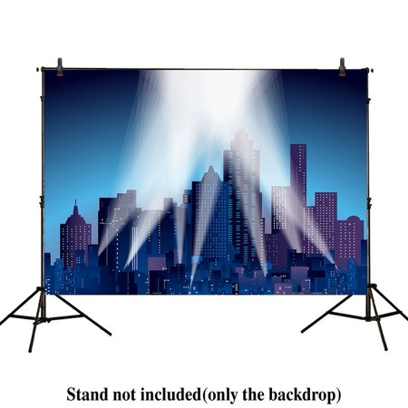 GreenDecor Polyster 7x5ft photography backdrops superhero super city night skyline buildings child birthday party event banner photo studio booth background baby shower photocall - Superhero Skyline