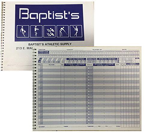Standard Basketball Scorebook,30 Games Spiral Bound 20 Players (Set of 3) by Baptists Supply