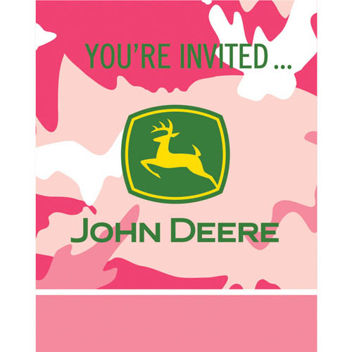 John Deere Pink Camouflage Invitations w/ Envelopes (8ct)
