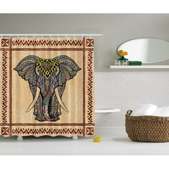 Elephant Decor Ethnic Tribal Chevron Paisley Hippie Boho Indian Shower Curtain