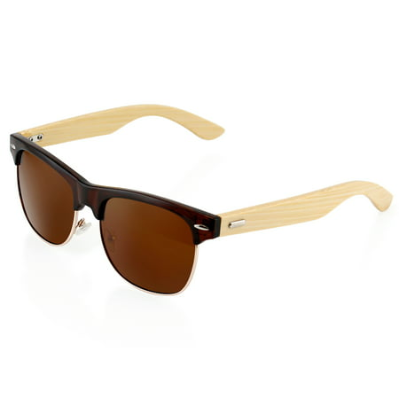 Premium Fashion Stylish Half Frame Classic Retro Horn Rimmed Vintage Wood Wooden Bamboo Sunglasses Black Frame With Gold Lens