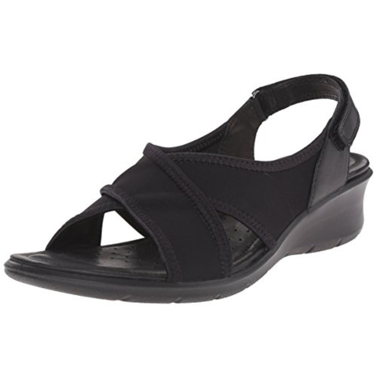 ECCO Womens Felicia Sandal Leather Mini Wedge Slingback Sandals by Ecco