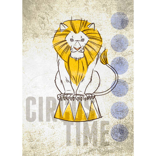 Oopsy Daisy - Big Top Lion Canvas Wall Art 10x14, Fancy That Design House & Co