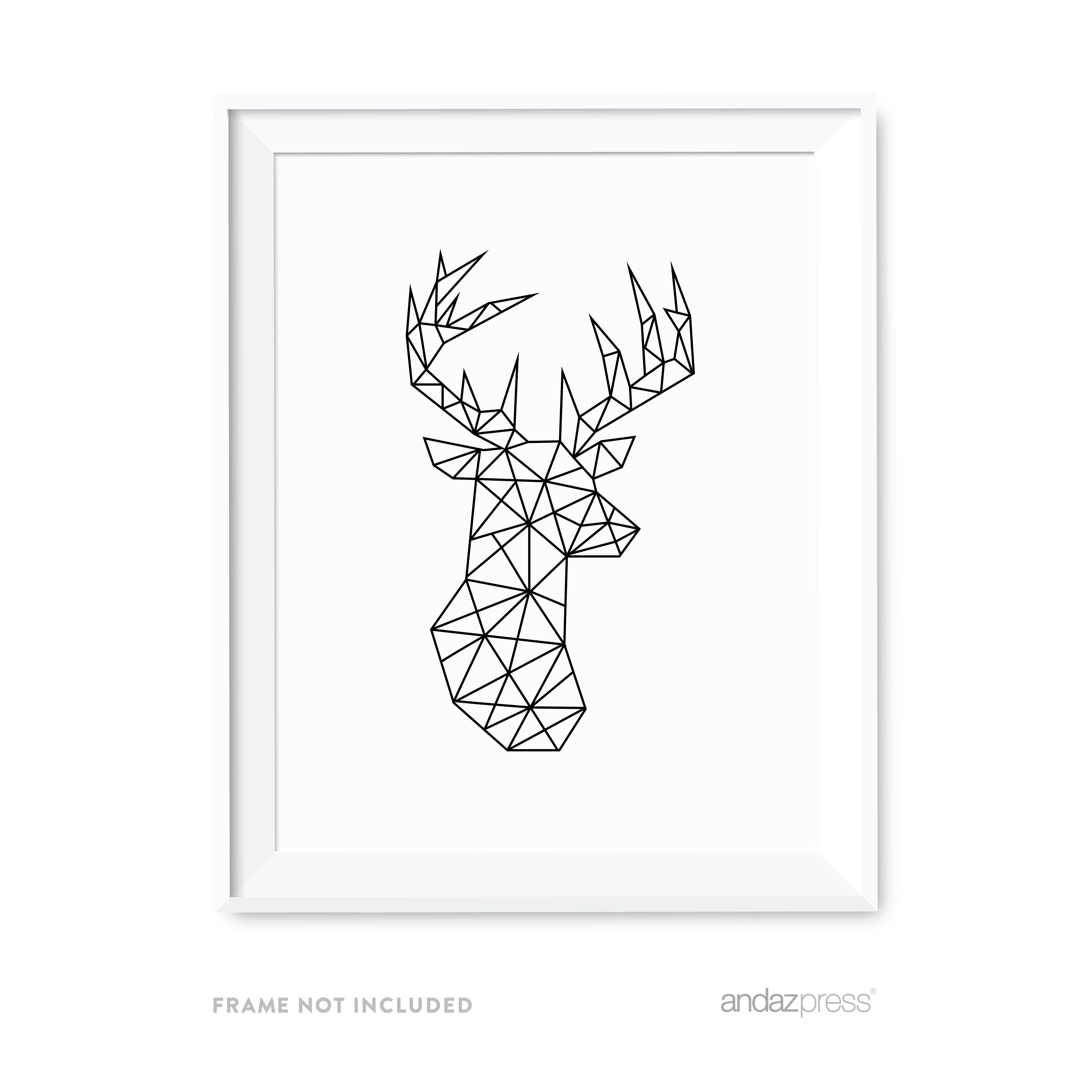 Deer Geometric Animal Origami Wall Art Black White Minimalist Print