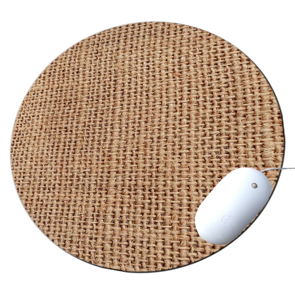 KuzmarK Round Mousepad / Hot Pad / Trivet - Burlap