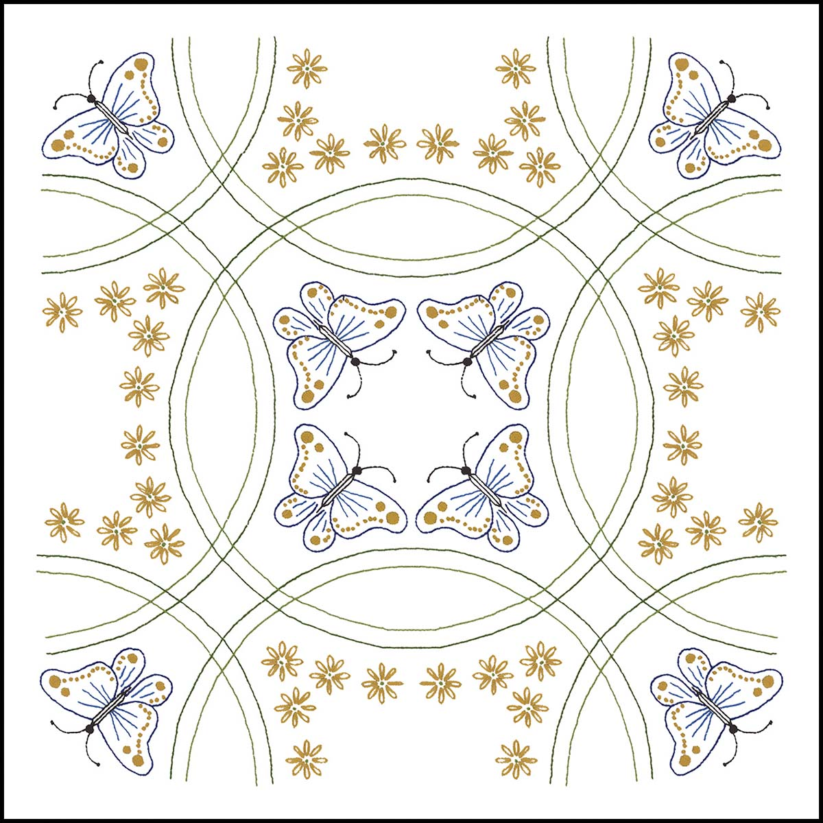 Herrschners® Butterflies & Rings Quilt Blocks Stamped Embroidery