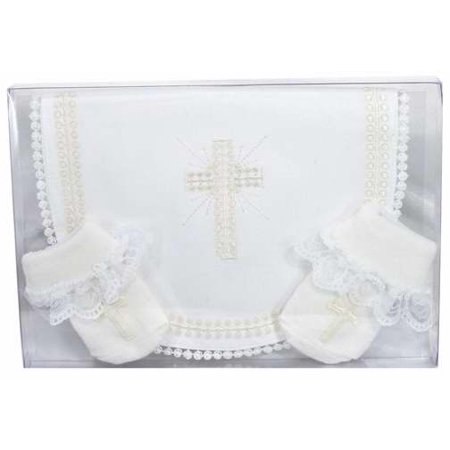 Stephan Baby Picot-Edged Embroidered Christening Bib and Bootie Socks Set, Infant Girl Multi-Colored