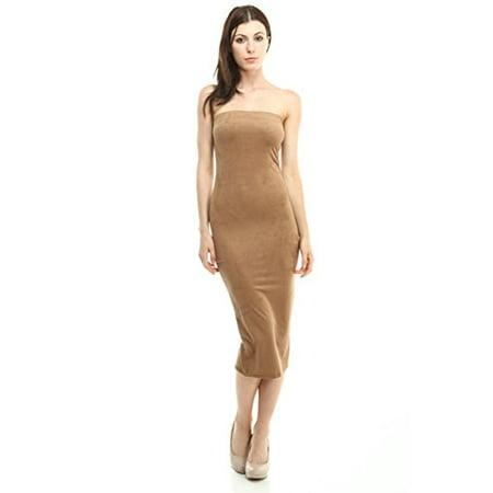 2Chique Boutique Women's Suede Body-con Midi Dress with Elastic Top Band - Stardust Dress Boutique