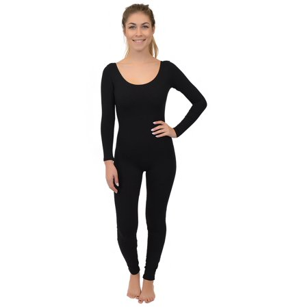 Women's Long Sleeve Scoop Neck Cotton Unitard - Small (0-2) / Black - Black Cotton Unitard