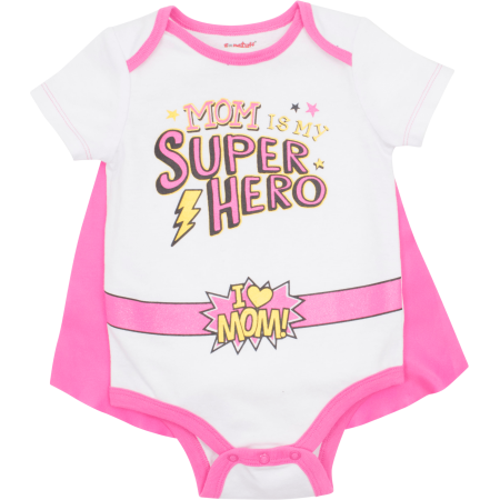 Mother's Day Super Hero Mom Infant Baby Girls' Bodysuit & Cape White/ Pink (0-3 Months) ()