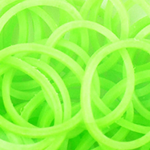Loom Bands with Clasps, 100 Bands and 10 Clasps, Glow In The Dark Green