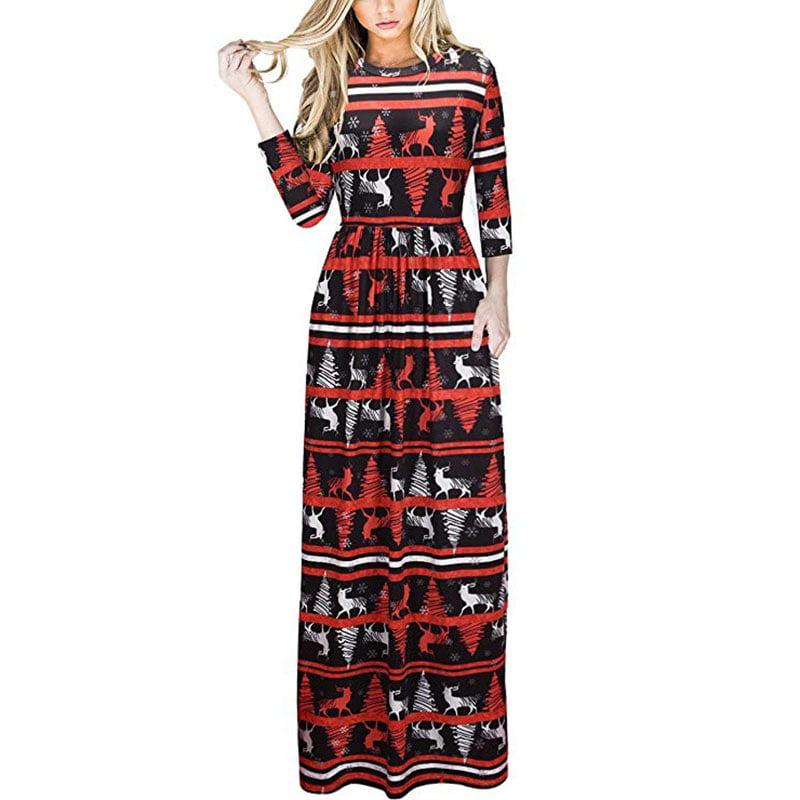 issac live  women's christmas dress xmas christmas print