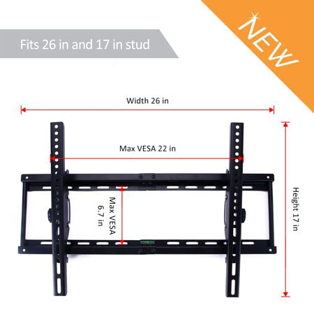 Adjustable TV Wall Mount - Tilting TV Mounting Brackets fit 37, 40, 42, 55, 65, 70 Inch Plasma Flat Screen TV (Adjustable Fins)