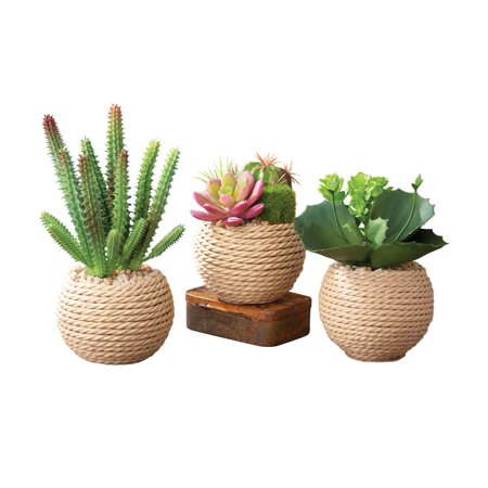 potted succulents faux artificial in rope vase 3 piece set green. Black Bedroom Furniture Sets. Home Design Ideas
