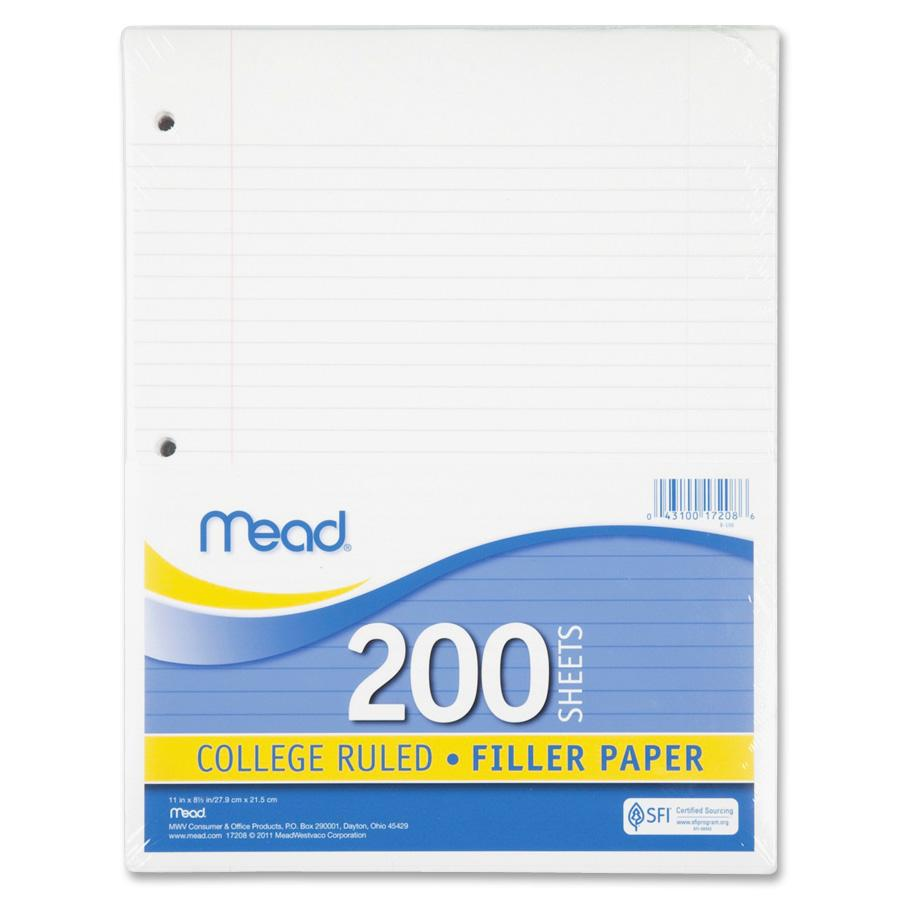 Mead Filler Paper, College Ruled, 3-Hole Punched, 11 X 8-1